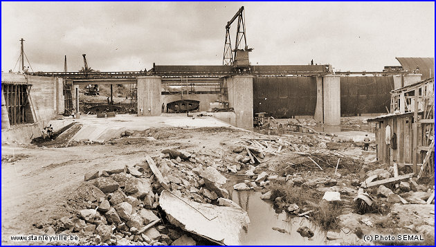 Construction du barrage de Stan en 1954